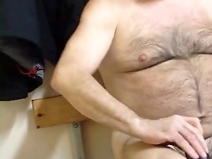 Bearded daddy in locker room